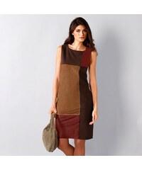 Blancheporte Semišové šaty s patchwork efektem karamelová 36