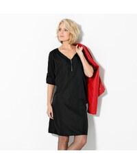 Blancheporte Jednobarevné šaty se zipovým výstřihem černá 36