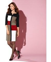 Blancheporte Patchworkové šaty z úpletu Milano černá/hnědošedá/paprika 36