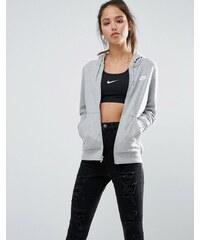 Nike - Sweat à capuche zippé sur le devant - Gris