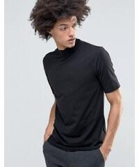 Weekday - T-Shirt mit halbem Stehkragen - Schwarz