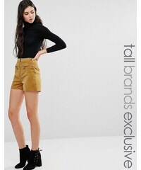 Glamorous Tall - Short taille haute zippé en velours côtelé - Vert