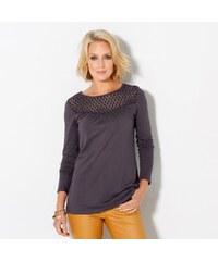 Blancheporte Jednobarevné tričko s krajkovou náprsenkou šedá 34/36