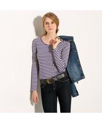 Blancheporte Pruhované tričko s dlouhými rukávy fialová/režná 34/36