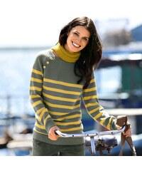 Blancheporte Pruhovaný pulovr s knoflíky khaki/medová 34/36