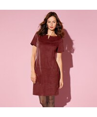 Blancheporte Rovné semišové šaty v členitém střihu tomatová 36