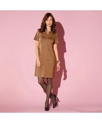 Blancheporte Rovné semišové šaty v členitém střihu karamelová 36