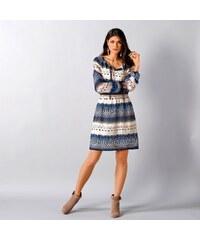 Blancheporte Voálové šaty s potiskem modrá 38