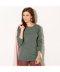 Blancheporte Jednobarevný pulovr s knoflíky v ramenou khaki 34/36