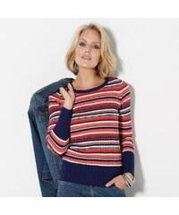 Blancheporte Pruhovaný pulovr námořnická modrá/korálová 34/36