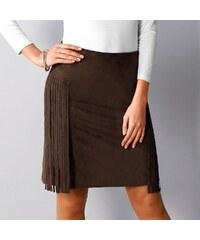Blancheporte Semišová sukně s postranními třásněmi čokoládová 36