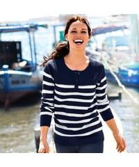 Blancheporte Pruhovaný pulovr s tuniským výstřihem námořnická modrá/režná 34/36