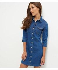 New Look Parisian - Robe en jean bleu manches 1/2 boutonnée à l'avant