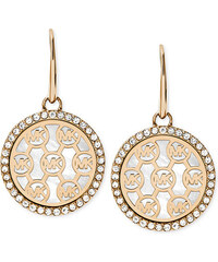 Michael Kors perleťové náušnice gold logo disc MKJ5368040
