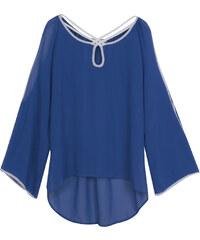 Lesara Halbtransparente Bluse mit Cut-Out-Ärmeln - Blau - S