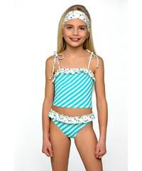 Lorin Dívčí plavky Adélka tyrkys bílé