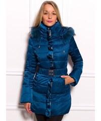 Due Linee Dámská zimní péřová bunda s pravým norkem - modrá