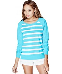 GUESS GUESS Aubrie Striped Pullover - turquoise