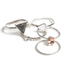 GUESS GUESS Silver-Tone Stackable Ring Set - Size 6 - silver