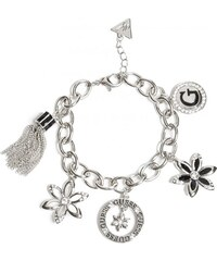 GUESS GUESS Black and Silver-Tone Charm Bracelet - silver