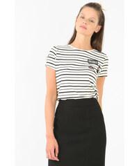 T-shirt patch rayé blanc cassé, Femme, Taille L -PIMKIE- MODE FEMME
