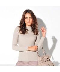 Blancheporte Žebrovaný pulovr se stojáčkem, délka cca 63 cm béžová 34/36