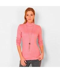 Blancheporte Jednobarevné tričko se stojáčkem a dlouhými rukávy růžové dřevo 34/36