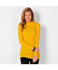 Blancheporte Žebrovaný pulovr se stojáčkem, délka cca 74 cm medová 34/36
