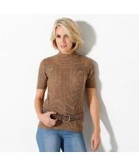 Blancheporte Žebrovaný pulovr s krátkými rukávy oříšková 34/36