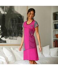 Blancheporte Asymetrická noční košile s potiskem a krátkými rukávy indická růžová 34/36