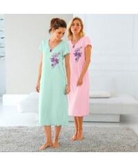 Blancheporte Noční košile s potiském květin, s krátkými rukávy, sada 2 ks mentolová+růžová 42/44