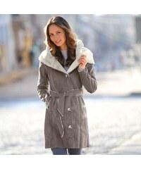 Blancheporte Semišový kabát ve vzhledu ovčí kůže hnědošedá 36
