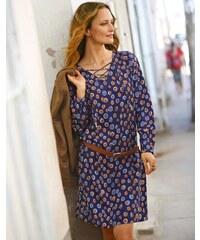 Blancheporte Šaty s potiskem a dlouhými rukávy modrá/karamelová 36