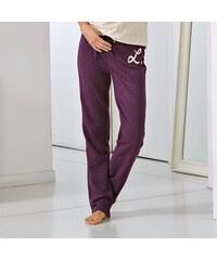 """Blancheporte Meltonové kalhoty s potiskem """"Lounge"""" bordó 34/36"""