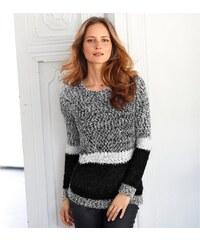 Blancheporte Pruhovaný pulovr z buklé úpletu šedá/černá 38/40