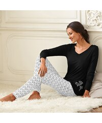Blancheporte Pyžamo s potiskem černá/bílá 34/36