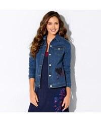 Blancheporte Džínová bunda s výšivkou modrá 38