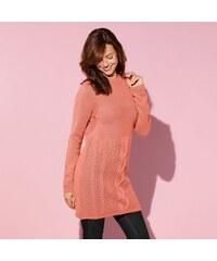 Blancheporte Tunikový pulovr s copánkovým vzorem a dlouhými rukávy terakota 34/36