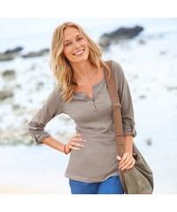 Blancheporte Jednobarevné tričko s tuniským výstřihem hnědošedá 34/36