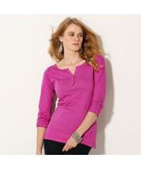 Blancheporte Jednobarevné tričko s tuniským výstřihem indická růžová 34/36