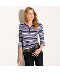 Blancheporte Proužkované tričko s tuniským výstřihem indigo/režná 34/36
