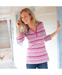 Blancheporte Proužkované tričko s tuniským výstřihem indická růžová/režná 34/36