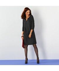Blancheporte Šaty s potiskem puntíků, 3/4 rukávy černá/bílá 36