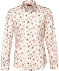 Devil's Advocate Herren Bird Retro Hemd mit langem Arm Ecru
