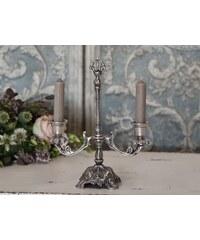 Chic Antique Dvouramenný svícen Antique silver