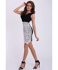640f907fe3af Emamoda Černé šaty s bílou krajkou na sukni