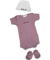 Les Bébés d Elysea Body MC brodé+ chapeau+chaussons - parme
