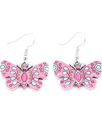 Náušnice motýl v etno stylu s krystalky