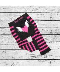 Blade & Rose Dívčí pruhované legínky s andělskými křídly - růžovo-černé
