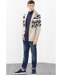 Esprit Hrubě pletená bunda s žakárovým vzorem